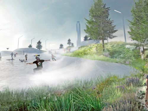 People skiing on a pitched green roof